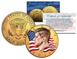 The Merrick Mint Colorized Flowing Flag 2018 Jfk Kennedy Half Dollar Coin 24K Gold Plated D Mint