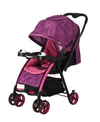 Reversible Handle Baby Stroller Pram With Lift Up Foot Rest - Purple