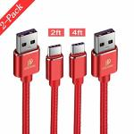 DUX DUCIS USB Type C Cable 2-PACK 1X2FT&1X4FT Pu Leather Fast Charger Cord Compatible Samsung S9 S8 Plus NOTE9 Moto Z2 Google Pi