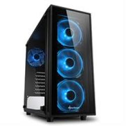 Sharkoon TG4 Blue Atx Tower PC Gaming Case Black - USB 3.0 Mounting Possibilities: 2 X 3.5 4 X 2.5 Top I o: 2X USB