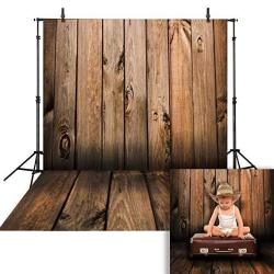 Funnytree 6X8FT Soft Fabric Wrinkle Free Brown Wood Floor Photography Backdrop Rustic Wooden Background Dark Birch Board Retro Plank Banner For Newborn Baby Kids