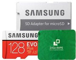 Digi-Wipe 128GB Samsung Evo Plus Micro-sd Memory Card Class 10 UHS-3 For Samsung S7 S8 S8 Plus Samsung Galaxy S9 S9 Plus Phones + Digi Wipe Cleaning Cloth