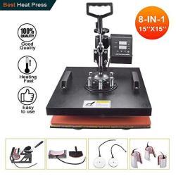 "Power Heat Press Machine 15"" X 15"" Professional Swing Away Heat Transfer 8 In 1 Digital Sublimation 360-DEGREE Rotation Multifun"