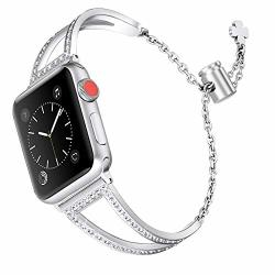 Secbolt Bling Bands Compatible Apple Watch Band 42MM 44MM Iwatch Series 4 3 2 1 Women Stainless Steel Metal Dress Jewelry Bracel