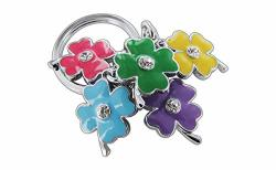 Adorable & Fun Colorful 4-LEAF Clover-flower Key Chain With Crystals On Both Sides. Made Of Chrome Coated Metal For Long Lasting Bright Colors And