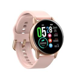 DT88 1.22 Inch Full Circle Full Touch Silicone Strap Smart Sport Watch IP68 Waterproof Support Real-time Heart Rate Monitoring Sleep Monitoring Bluetooth Alarm Clock Pink