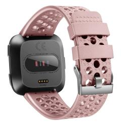 For Fitbit Versa Breathable Metal Watch Band Rose Gold