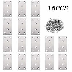 FLAT 16PCS Brackets Heavy Duty Stainless Steel Straight Fixing Mending Plates 80 X 40 Mm Straight Bracket Repair Plate For Furniture Wood Shelves Cabinet