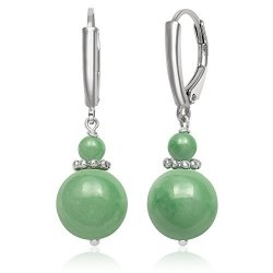 Belacqua Sterling Silver Natural Green Jade Lever Back Drop Dangle Earrings