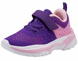 AoSiFu Kids Athletic Running Shoes Boys Girls Lightweight Tennis Sneakers Toddler little Kid big Kid Size 1 PURPLE33