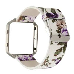 Floral Band For Fitbit Blaze - White & Purple