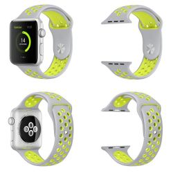Killerdeals Silicone Strap For 42MM Apple Watch - Grey & Yellow