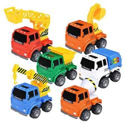 Qhtoy Dhsm 6 Pack Friction Powered Cars Construction Vehicles Toy Set  Inertia MINI City Engineering Push And Go Car Truck For 1 2 3 Year Old Boy  Girl