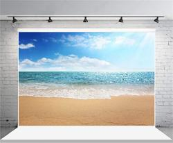 Aofoto 8X6FT Beach Photography Background Seaside Sea Waves Backdrop Ocean Blue Sky Clouds Holiday Trip Vacation Adult Boy Girl Lover Portrait Wedding