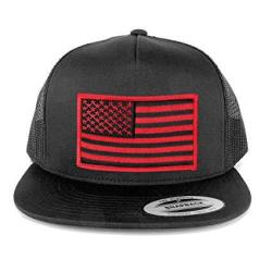 Flexfit Armycrew 5 Panel American Flag Patched Snapback Mesh Charcoal Cap - White Patch