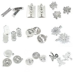 26 Pieces Antique Silver Tone Jewelry Making Charms No Tag Signs Karma Sign Retro Pattern Flower Scorpio Veritas Words Love Best Friend Connector