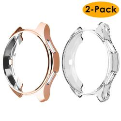 EZCO Compatible Samsung Galaxy Watch 42MM Case 2-PACK Soft Tpu Plated Case Protector Bumper Shell Compatible Samsung Galaxy Smart Watch Rose Gold+c