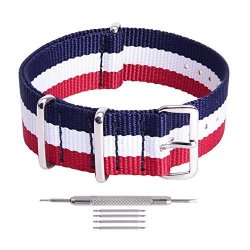 Ritche Blue white red Nato Strap 18MM Replacement Nylon Watch Band