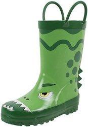 Rainbow Daze Dino Dragon Green Dragon Dinosaur Printed Rubber Rain Boots For Kids Size 11 12