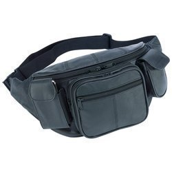 Embassy New Large Genuine Leather Waist Bag Fanny Pack With Two Cell Phone Pockets And Six Exterior Pockets