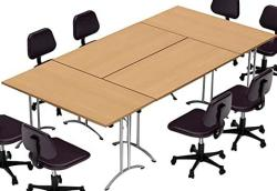 Teamworktables 2916 Compact Space Maximum Collaboration Meeting Seminar Conference Tables Assembled Easy-to-setup-and-use Natural Beech 4 Piece Co