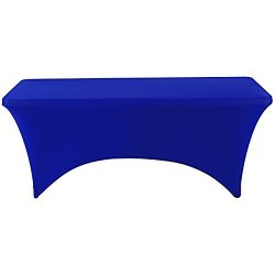 "Iceberg 16526 Stretch Fabric Table Cover Fits 72"" X 30"" Folding Tables Blue"