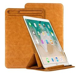 """Apple 9.7 Inch Pouch With Pencil Holder Elecfan Premium Pu Leather Protective Sleeve Case Tri-fold Stand Cover For 9.7"""" New 2018 2017 Model"""