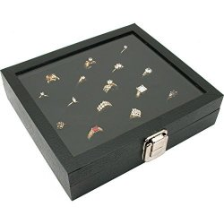 USA Glass Top Display Case 36 Slot Ring Insert Liner New Storage Jewelry Box Holder