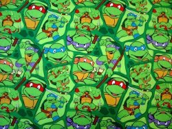 Sheetworld Flat Crib Toddler Sheet - Ninja Turtles - Made In Usa