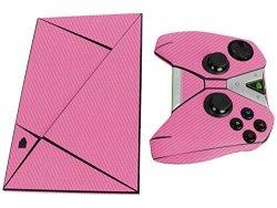Skinomi Techskin - Nvidia Shield Tv + Controller Pink Carbon Fiber Full Body Skin Protector Front & Back Premium HD Clear Film