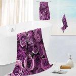 SOCOMIMI Microfiber Outdoor Beach Towel Set Purple Rose Luxury Hotel Shower Spa Bath Towels