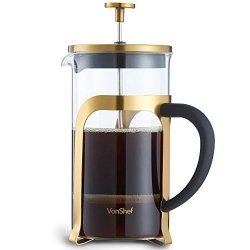 DOMU Brands LLC Vonshef Premium 8 Cup Glass gold Stainless Steel Heat Resistant French Press Cafetiere Coffee Maker - 1 Liter 34 Fl Oz