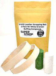 3 4X12 Inch 2 Pack Leather Honing Polishing Belt Super Strop With White And Green Compound Fits Ken Onion Work Sharp