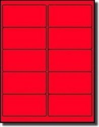 """Label Outfitters 1 000 4"""" X 2"""" Fluorescent Neon Red Laser Printer Labels - 100 Sheets"""