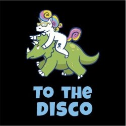 Unicorn To The Disco Womens Black T-Shirt Large