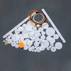 Sunbona 75PCS Type Plastic Shaft Single Double Reduction Crown Worm Gears Diy For Robot