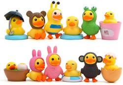 USA Tangtanger 12 Pcs Duck Figures Toys Dolls Duck Action Figures Models Toys Garden Cake Decoration