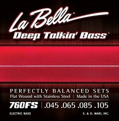La Bella 760FS Stainless Steel Bass Guitar Strings Perfectly Balanced Sets Standard Tension - Perfect For Professional Bass Players