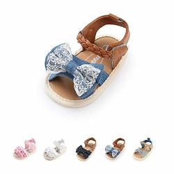 Infant Baby Yukioverly Girls Cute Sandals Soft Sole Summer Princess Dress Bowknot First Walker Shoes 15-21 Months M Us Toddler B