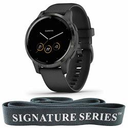 Garmin Vivoactive 4S Gps Smartwatch Features Music Animated Workouts Pulse Ox Sensors And More Black + Signature Series 6.5 Fitness Stretching Pull Up Resistance Band Dark Grey