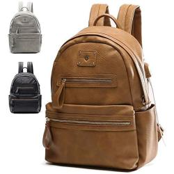 Leather Backpack By Miss Fong Backpack For Girls Laptop Backpack For Women With USB Charger Fits 13 Inch 14 Inch Laptop Brown