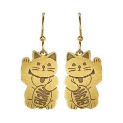 Joseph Brinton Maneki-neko Good Luck Cat Earrings 1767-B