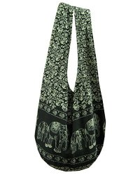 BTP Elephant Floral Print Sling Crossbody Shoulder Bag Purse Hippie Hobo Thai Cotton Gypsy Bohemian Large Black YI-1