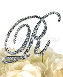 """Victorian Collection Monogram Rhinestone Cake Topper - Large - Silver 4.75"""" Tall Letter R"""