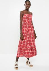 New Look Check Tier Midi Dress - Red