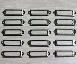 WEICHUAN 100 Pieces 60MM17MM Card Holder Drawer Pull Label Holders label Frames Card label Holder Modern Label Holders -antique Bronze Tone Metal Art With Screws