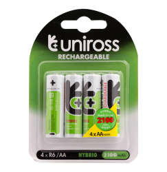 Uniross 4 Pack Aa Hybrio Rechargeable Batteries