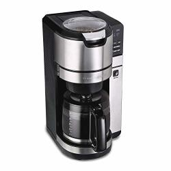 HAMILTON BEACH 45500 Grind And Brew Programmable 12 Cup Maker With Built-in Auto-rinsing Coffee Grinder Glass Carafe