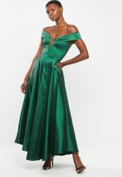 Velvet Bardot Plunge Stretch Taffeta Circle Skirt Slit Maxi - Green