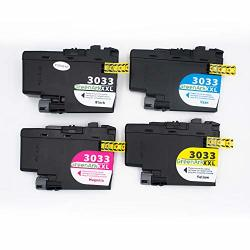 Greenark Compatible Ink Cartridge Replacement For Brother LC3033XLBKCMY For MFC-J995DW MFC-J995DW Printer 4PACK